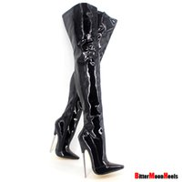 "Wholesale Trend Women Winter Boots - Wholesale-6 1 4"" Trend Women Winter Boots High Heels Patent Leather Boots Female Heel Plain Stretch Crotch Thigh High Boot Black Plus Size"