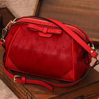Wholesale Horse Hair Leather Handbags - Wholesale- 2016 Winter Genuine Leather Handbags Fashion Horse hair Women Messenger Bags Simple Bow First Layer Cowhide Shell Bag