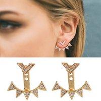 flash vintage gratis al por mayor-Para mujeres aretes de oro pendientes de joyería de moda vintage digital 5 super flash ear cuff girl envío gratis