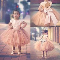 Wholesale Communion Portrait - Pageant Dresses For Girls Sleeves 2016 Hot Blush Pink Stain Top Tulle Tutu Bow Back Tea Length Flower Girls Dress For Weddings