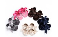 Wholesale Toddler Girl Booties - 2017 Christening Baptism Newborn Baby Girl Shoes Cute Bowknot Shoes Toddler First Walker Booties Shoes For Girls