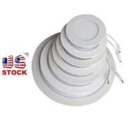 downlight mince achat en gros de-Led Downlight à panneau mince rond 6W / 9W / 12W / 15W / 18W 24W encastré ultra mince panneau de chambre à coucher ampoule d'éclairage