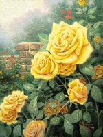 Wholesale new cross stitch kits for sale - Group buy New diy diamond painting cross stitch kits resin pasted painting full square drill needlework Mosaic Home Decor yellow rose flower zf0173