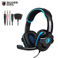 Wholesale Headset Gamers - SADES SA-708GT Gaming headphones Headset 3.5mm Jack Stereo Computer Gamer Earphones with Mic for Xbox 360 playstation 4 PC Phone
