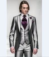 Wholesale White Tuxedo Evening Wedding Groom - Wholesale- New Arrival Groomsmen Silver Grey Groom Tuxedo Wedding Dinner Evening Suits Best Man Bridegroom (Jacket+Pants+Tie+Vest) B140