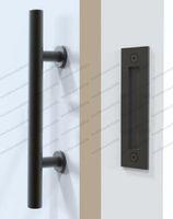 Wholesale Wood Door Knobs - 2017 HOT Black Stainless Steel Barn Door Handle And Pull Wood Door Two-side Black handle Door knob FREE SHIPPING MYY
