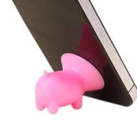 zellenhalter silizium großhandel-2017 universal niedlichen schwein form farbige silikon handyhalter handyhalter sitz faul handyhalter für iphone samsung ipad sony tablet