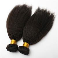 ingrosso trame dei capelli in vendita-Le trame brasiliane dei capelli di vendita calda 3 pacchi i capelli diritti crespi brasiliani neri naturali tesse l'estensione brasiliana dei capelli umani