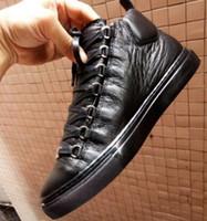 ingrosso eleganti scarpe casual per gli uomini-Gli appartamenti degli uomini Europa marchio di moda elegante lace up high top scarpe uomo scarpe casual scarpe in vera pelle confortevole designer