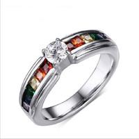 Wholesale Pr Wedding - Beautiful Crystal Wedding Rings Rainbow Color Ring With Zircon Austrian Crystal Rainbow Stainless Steel Rings Jewelry PR-008