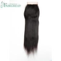 Wholesale Virign Peruvian Hair - Brazilian Straight Lace Closure Natural Color 4x4 Medium Brown 100% Peruvian Virign Hair Closure Free Part Malaysian Indian