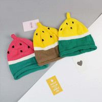 Wholesale Winter Seeds - Wholesale toddler winter hats cute baby warm hat with Watermelon seeds babies beanie INS Hot sell knitting croct cap for newborn