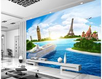 Wholesale 3d Cruise Ship - 3d murals wallpaper for living room Cruise ship sea view TV background wall photo wall murals wallpaper