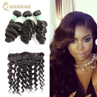 Wholesale Loose Wave 1b - Unprocessed Brazilian Virgin Human 3 Hair Bundles With 13x4 Lace Frontal Closure Loose Wave 1B Color Wedding Soft Smooth Cheap Queenlike 7A