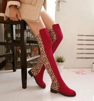 Wholesale Size Leopard Print Heels - New Arrival Hot Sale Specials Influx Sweet Girl Warm Suede Trend Retro Leopard Leg Stretch Stovepipe Mix Color Large Size Knee Boots EU34-44