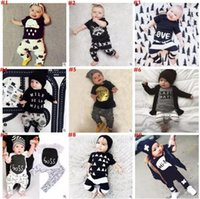 Wholesale Shirt Owls - 19 style Ins Kids Clothing Sets Summer Baby Clothes Ins Letter T-shirts Pants Animal Print Outfits Owl Stripe T Shirts Pants