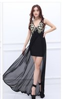 Wholesale Dres Beads Sequins - 2017 Deep V-Neck Gauze Low-cut Evening Dres Strapless Sexy Slim Montage Nail Bead Long Dress New Fashion
