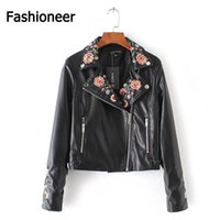 Wholesale Slim Casual Jacket For Women - Fashioneer Jackets For Women PU Leather Harajuku Rock Embroidered Floral Rivet Black Bomber Short Jacket For Woman Lady S-L Size