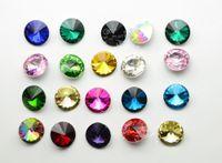 Wholesale Wholesale Rivoli 14mm - 100 PCS 14mm Glass Color Faceted Glass Rivoli Jewels