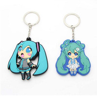 Wholesale Hatsune Miku Keychain - New 20pcs lot Classic Cute Hatsune Miku figure Pendant PVC keychain Anime cartoon Accessory Free Shipping