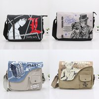 Wholesale Black Butler Toys - 31*26cm Anime Naruto Canvas Bag Messenger Black Butler Attack On Titan death note Shoulder Bag Sling Backpack School Cosplay bag toy