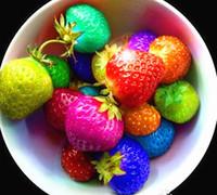 paquete de fresas al por mayor-100 semillas / paquete de semillas de fresa arco iris de frutas Multi-color de fresas semillas semillas de flores macetas de jardín macetas