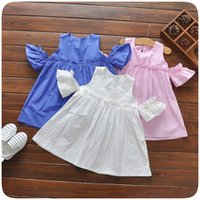 Wholesale Tank Tops For Girls Kids - Baby summer tank tops baby kids clothing girls Off-shoulder princess T shirts Mini dresses for 0~3 Year baby