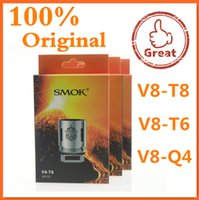 Wholesale 100 Original Smok TFV8 Coil Head T10 V8 T8 V8 T6 V8 Q4 V8 X4 V8 RBA V8 T10 Replacement Coils For TFV8 Cloud Beast Tank DHL