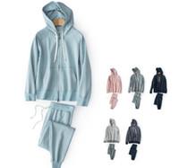 ingrosso vestiti sportivi femminili-Zipper maglione sport casa servizio vestito con cappuccio fuori dai modelli femminili movimento casa