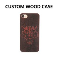 Barato Gravura De Plástico Por Atacado-Atacado Engrave Real Bamboo Wood e Plastic PC Case para iPhone 6 6 Plus com Custom Any Pattern DIY Logo