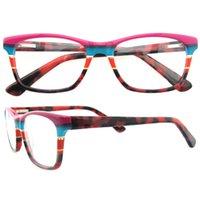 Wholesale Geek Eyeglasses - New Retro Actetate High Quality Optical Plain Mirror Eyeglasses Frames Men Women Myopia Eye Glasses Prescription Eyewear Frame