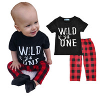Wholesale month baby boy styles online - Boys Casual Clothing Sets Letters WILD ONE Plaid Pants Baby Fashion Suits Infant Outfits Kids Tops Trousers T LG2017