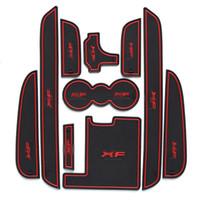 Wholesale Red Car Rubber Mats - Car Door mats gate slot mat Cup Pads 10 pcs for Jaguar XF 2011 -2015