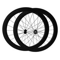 Wholesale full ceramic bearings - 700C Full Carbon 25mm width U Shape Ceramic Bearing hub 60mm clincher carbon road bicycle wheels Only 1610g Road Bike Wheelset
