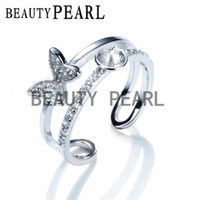 Wholesale Butterfly Pearl 925 - 5 Pieces Wholesale Double Band Ring Base Butterfly Zircon 925 Sterling Silver DIY Pearl Ring Mount