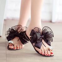 ingrosso grandi scarpe da fiori-All'ingrosso-2015 signore di estate Bowtie sandali fiore sexy moda casual spiaggia femminile infradito donne grandi scarpe con strass scarpe K234