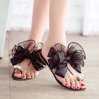 Wholesale sexy fabrics - Wholesale-2015 summer ladies Bowtie flower sandals sexy casual fashion female beach flip flops women big rhinestone slippers shoes K234