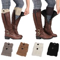 Wholesale Socks Buttons - Wholesale- Women Ladies Winter Leg Warmers Button Crochet Knit Boot Socks Toppers Cuffs