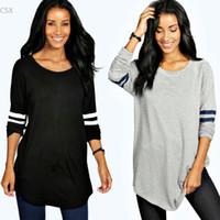 Wholesale Beige Tunic - Wholesale- 2016 fashion t shirt women long sleeve o-neck large plus size t-shirt high elastic black gray 2 color camisetas long tunic top