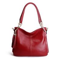 Wholesale Tassel Fashion Big Handbag - New Arrival Lady Fashion Handbag Women Genuine Leather Shoulder Bag Fashion Cowhide Handbag 5 Colors Big Space Free Shipping