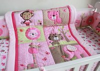 Wholesale Cot Set Pink - 100% Cotton Pink embroidery elephant Lions giraffes Appliqued animals Baby Cot Crib Bedding Set Quilt Bumper bedskirt Fitted