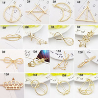 Wholesale 2017 New Promotion Trendy Vintage Circle Lip Moon Triangle Hair Pin Clip Hairpin Pretty Womens Girls Metal Jewelry Accessories