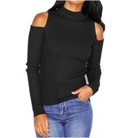 Wholesale Turtleneck Sweater Wholesales - Wholesale- Autumn Winter Fashion Women Turtleneck Off Shoulder Sweater Lady Long Sleeve Knitwear Pullover Slim Fit Blouse Tops Pull Dec6