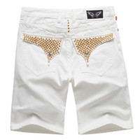 Wholesale flap pocket pants - New Mens Robin Beads Red Shorts Men's Designer Jean Cowboy Denim Short Pant with Crystal Studs Flap Pockets Cover Wing Clip Size 32-42