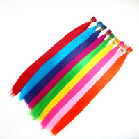 Wholesale 1g Stick Tip - Colorful Pre-bonded Stick I Tip Synthetic Hair Extensions 22inch 1g Strands Loop Micro Ring Hair Popular