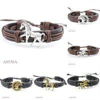 Wholesale Head Horses - ANTIQUE SILVER Tibetan Bronze 3D Running Horse Head CHARM Adjustable Leather Cuff Bracelet Casual Friendship Jewelry