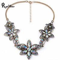 Wholesale White Resin Flowers - RAVIMOUR Fashion Vintage Statement Women Necklace New Crystal Bauhinia Flower Necklaces & Pendants Maxi Choker Collares Jewelry