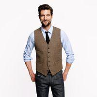 homens de colete de moda marrom venda por atacado-Moda tweed Brown Coletes de Lã Espinha De Peixe estilo Britânico custom made Mens terno alfaiate slim fit Blazer ternos de casamento para homens P: 3