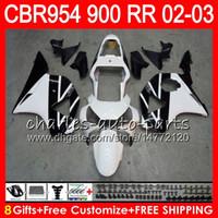 Wholesale Honda 954 Fairing Black - Body For HONDA CBR 954RR CBR900RR CBR954RR 2002 2003 66NO45 Black white CBR 900RR CBR954 RR CBR900 RR CBR 954 RR 02 03 Fairing kit 8Gifts