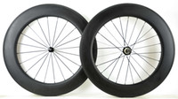 Wholesale 88mm carbon rims - Free shipping 700C Full carbon wheels 88mm depth 25mm width road bike clincher tubular carbon wheelset 3K matte finish U-shape rim